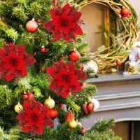 12pcs Fleur de Simulation de Noël,Fleur de Noël Poinsettia, Fleur de Noel,Decoration Noel Sapin,Fleurs de Noël Artificielles (Rouge)