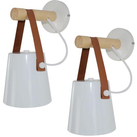 2pcs Applique Murale Créative Moderne Abat-jour en Bois et Fer E27 pour Chambre Chevet Salon Café - Blanc