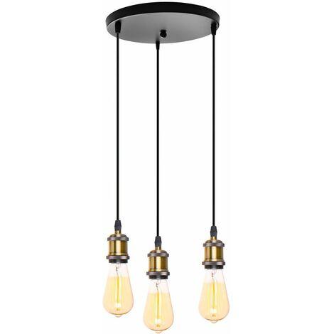 Lustre Suspension 3 Lumières Douille E27 Plafonnier Rétro Vintage pour Chambre Salon Bronze