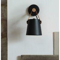 Lot de 2 Applique Murale en Fer et Bois E27 Suspension Créative Moderne pour Chambre Salon Noir