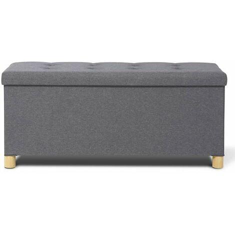 Banc coffre capitonné gris 76 cm - gris
