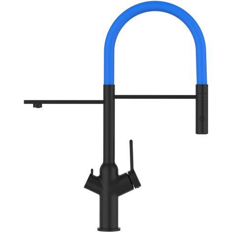 Mitigeur de cuisine 3 voies  noir mat robinet bec bleu clair  orientable et douchette 2 jets detachable BOD VIZIO