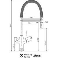 Mitigeur de cuisine 3 voies  noir mat robinet bec blanc orientable et douchette 2 jets detachable BOD VIZIO