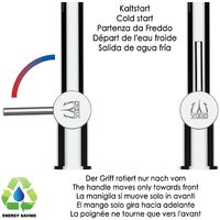Mitigeur de cuisine 3 voies  noir mat robinet bec rouge orientable et douchette 2 jets detachable BOD VIZIO