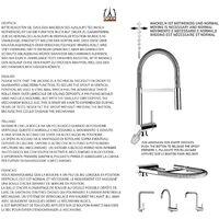 Mitigeur de cuisine rabattable sous fenetre 45mm chrome noir mat robinet bec blanc orientable et douchette 2 jets detachable VIZIO