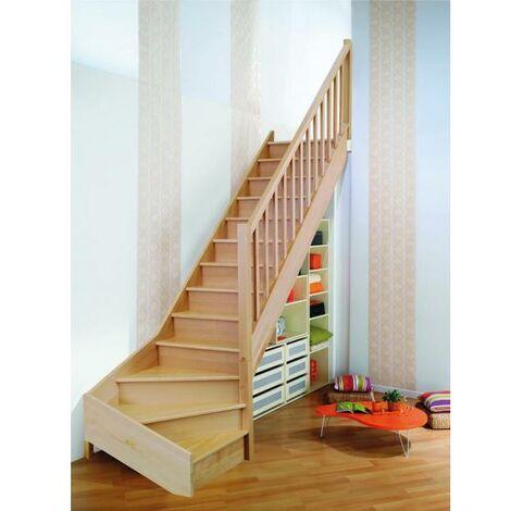 "Escalier quart bas ONE hêtre rampe + balustrade ""Select"" H274 Droit"