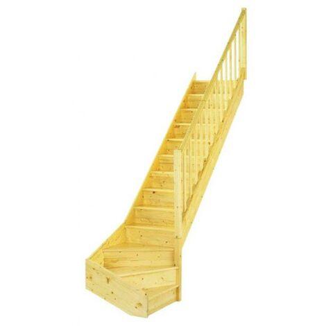 Escalier 1/4 tournant sapin a/rpe ACTUEL avec contremarche hauteur 274cm Droite