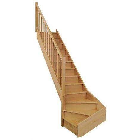 "Escalier quart bas ONE hêtre rampe + balustrade ""Actuel"" H274 Gauche"