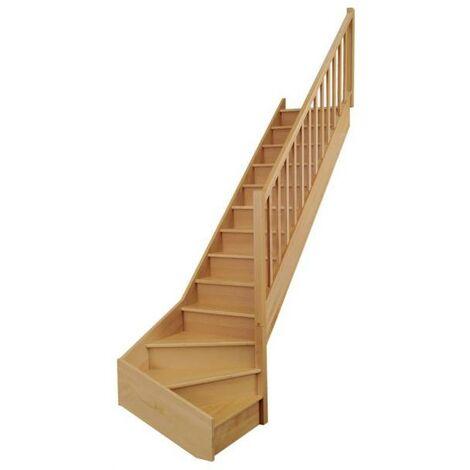 """Escalier quart bas ONE hêtre rampe + balustrade """"Actuel"""" H274 Droit"""