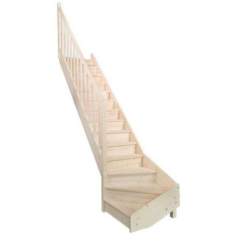 escalier sapin quart tournant bas droit, contremarches+rampe moulurée