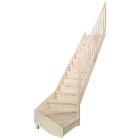 escalier sapin quart tournant bas gauche, contremarches+rampe moulurée