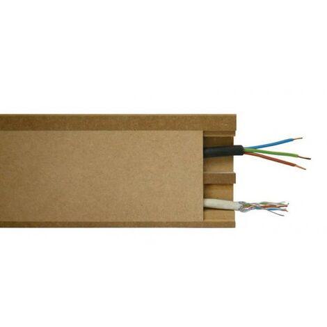 Plinthe MDF passe câble à couvercle en bois h. 110 x ép. 18 x L. 2440 mm