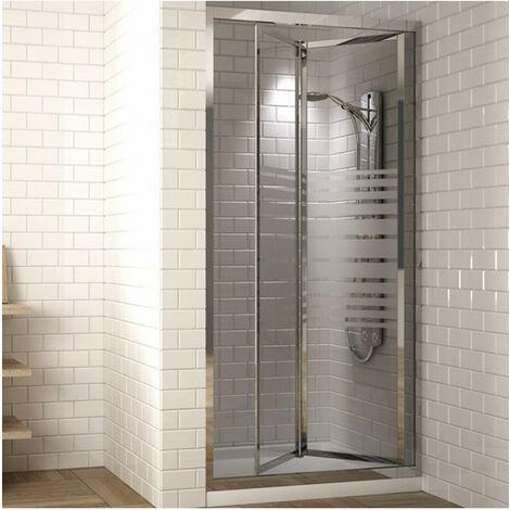 Paroi de douche frontale avec porte pliante et Verre sérigraphie 90CM