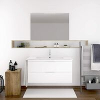 Meuble de salle de bain suspendus LOKI avec plan vasque et miroir. Avec porte-serviettes en cadeau!!! différentes coleurs et tailles en Blanc Fonds réduit 80X35CM