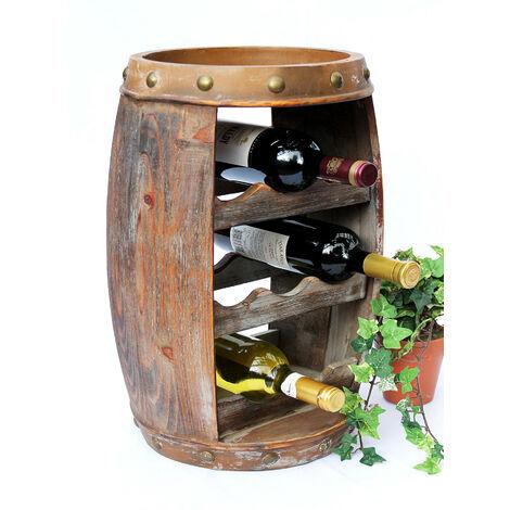 DanDiBo Scaffale-Vino Botte Vini 1555 Bar Porta-Bottiglie 50cm per 8 bottigl. Scaffale Botte Botte-Legno