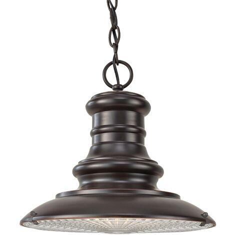 Elstead Redding Station - 1 Light Medium Outdoor Ceiling Chain Lantern Restoration Bronze, E27