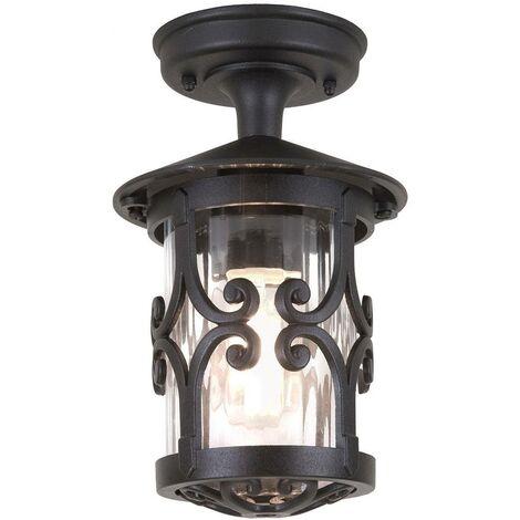 Elstead Hereford - 1 Light Outdoor Ceiling Lantern Black, E27