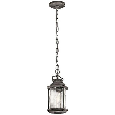 Elstead Ashland Bay - 1 Light Small Outdoor Ceiling Chain Lantern Zinc IP44, E27