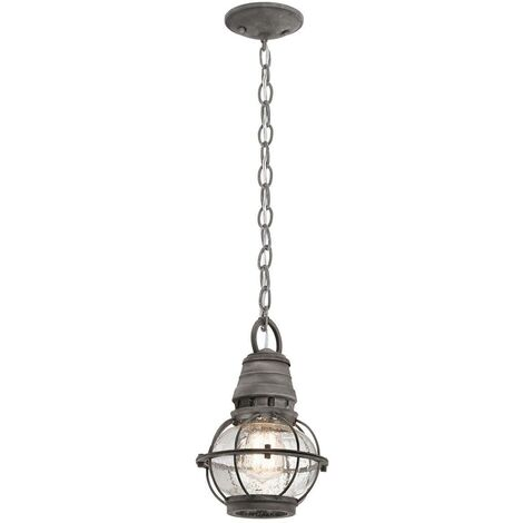 Elstead Bridge Point - 1 Light Small Outdoor Ceiling Chain Lantern Zinc IP44, E27
