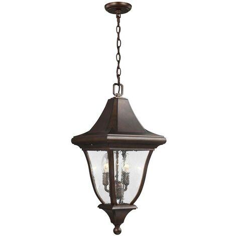 Elstead Oakmont - 3 Light Medium Outdoor Ceiling Chain Lantern Bronze, E14
