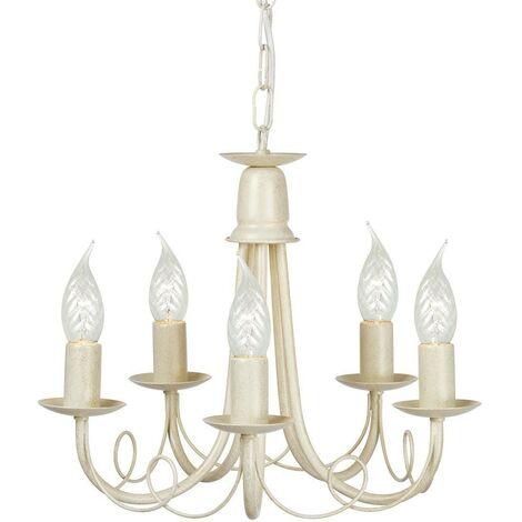 Elstead Minster - 5 Light Chandelier Ivory, Gold Finish, E14