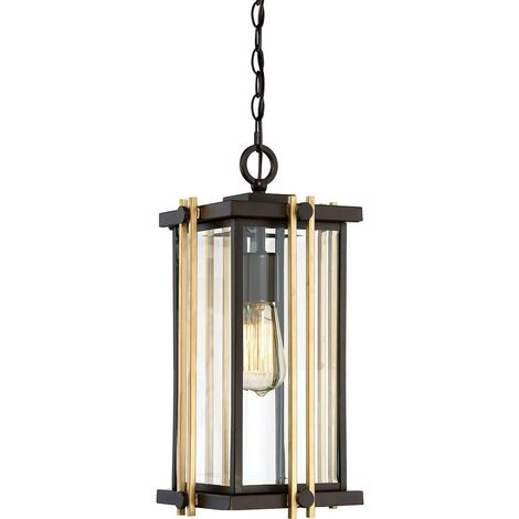 Elstead Goldenrod - 1 Light Medium Chain Lantern - Bronze Finish, E27