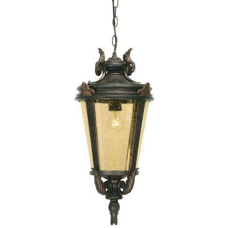 Elstead Baltimore - 1 Light Large Outdoor Ceiling Chain Lantern Weathered Bronze, E27