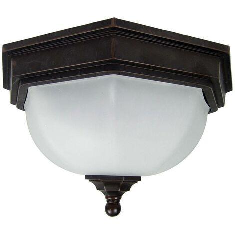 Elstead Fairford - 2 Light Bathroom Flush Ceiling Lantern Bronze IP44, E27