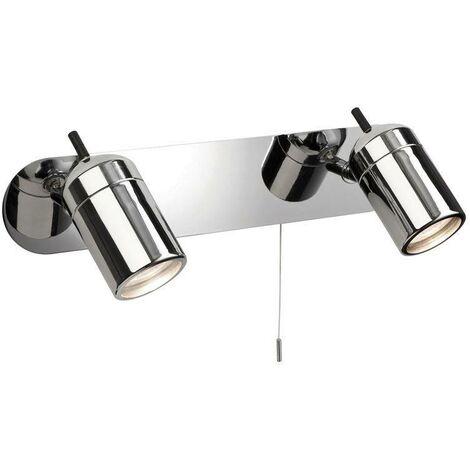 Firstlight Atlantic - 2 Light Spotlights Bar Switched Bathroom Ceiling Light Chrome IP44, GU10
