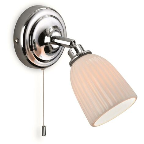 Firstlight Metro - 1 Light Bathroom Indoor Wall Light (Switched) Chrome, Porcelain Shade IP44, G9