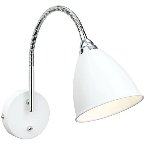 Firstlight Bari - 1 Light Indoor Wall Light (Switched) White, Chrome, E14