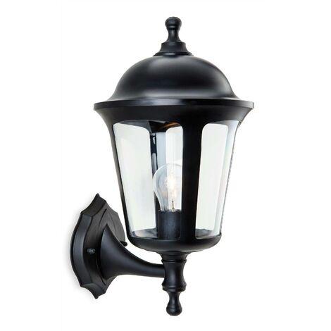 Firstlight Boston - 1 Light Outdoor Wall Lantern - Uplight Black IP44, E27