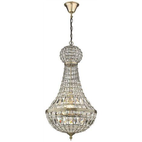 Spring Lighting - Chandelier 1 Light Antique Brass Finish, E27