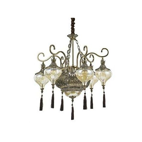 Ideal Lux Harem - 9 Light Multi Arm Chandelier Amber, Antique Brass Finish, E27