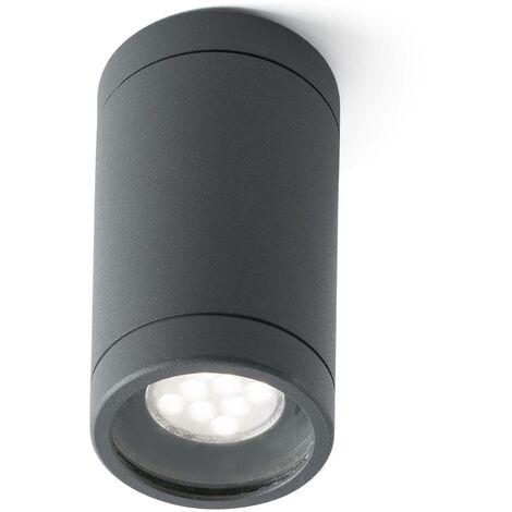 Faro Olot - 1 Light Outdoor Surface Mounted Ceiling Light Dark Grey IP44, GU10