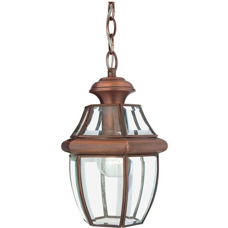 Elstead Newbury - 1 Light Medium Chain Lantern - Aged Copper, E27