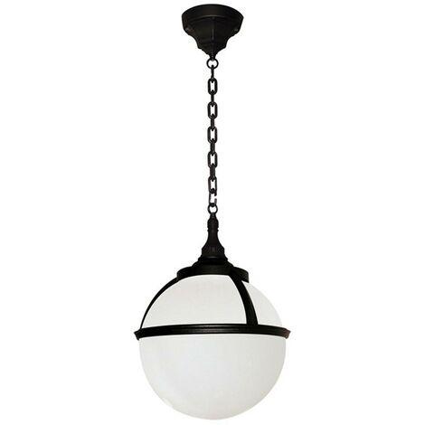 Elstead Glenbeigh - 1 Light Outdoor Globe Ceiling Chain Lantern Black IP44, E27