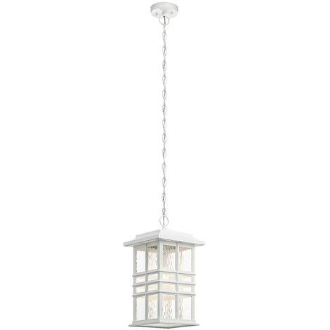Elstead Beacon Square Outdoor 1 Light Chain Lantern, White, IP44, E27