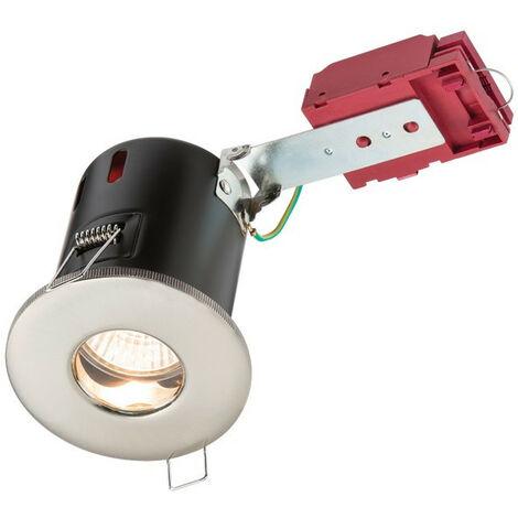 Knightsbridge Fire-Rated Shower Downlight Brushed Chrome, 230V IP65 GU10 IC
