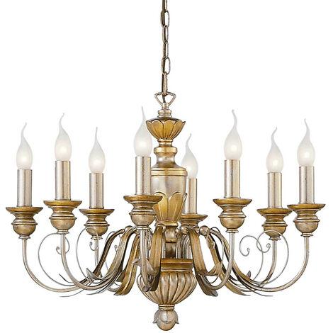 Ideal Lux Dora - 8 Light Chandelier Antique Brass Finish, E14