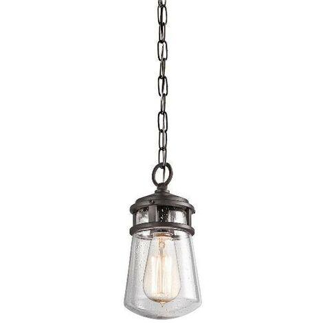 Elstead Lyndon - 1 Light Small Outdoor Ceiling Chain Lantern Architectural Bronze, E27