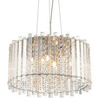 Endon Lighting Hanna - Pendant Clear Crystal (K5) Glass & Chrome Effect Plate 5 Light Dimmable IP20 - G9