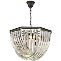 Spring Lighting - 5 Light Ceiling Pendant Black Chrome, Clear with Crystals, E14