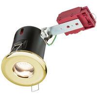 Knightsbridge Fire-Rated Shower Downlight Brass, 230V IP65 GU10 IC