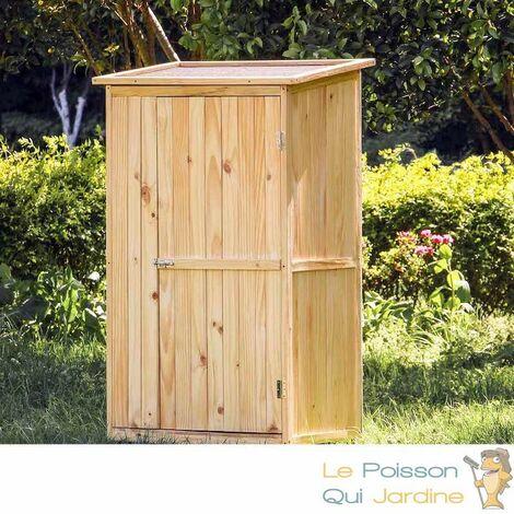 Cabane De Jardin En Bois Brut, 1 Porte, Pour Rangement, 154 cm De Haut - Bois