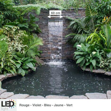 Cascade, Lame D'Eau 60 cm Inox + Led Couleur Pour Bassin De Jardin - Acier