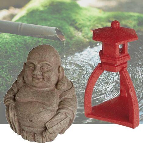 2 Décorations De Bassin De Jardin, Bouddha + Pagode Rouge