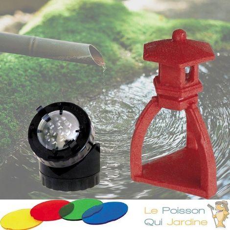 Décoration De Bassin De Jardin, Pagode Rouge + Spot LED 1,5W - Noir