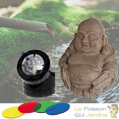 Décoration De Bassin De Jardin, Bouddha + Spot Led 1,5W - Noir