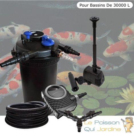 Kit Filtre Pression 18W + fontaine, Bassins De 30000 L, Pompe 10000 l/h